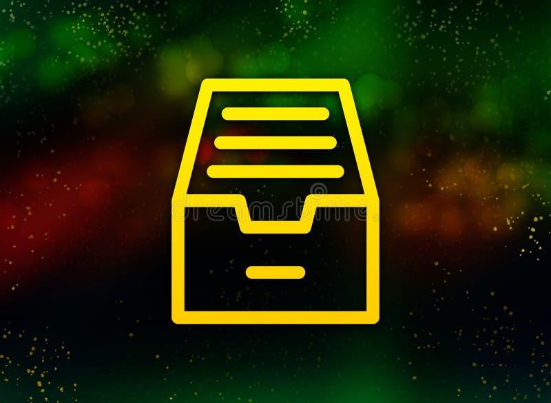Fundo escuro do bokeh do sumário do ícone do armário do arquivo do dobrador ilustração royalty free