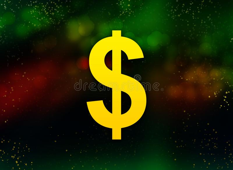 Fundo escuro do bokeh do sumário do ícone do sinal de dólar ilustração do vetor