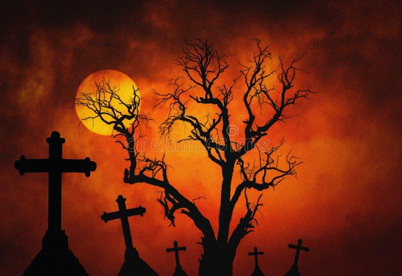 Fundo escuro do conceito da grão do grunge de Dia das Bruxas com a árvore inoperante assustador e mo assustador do cruz da silhue imagem de stock