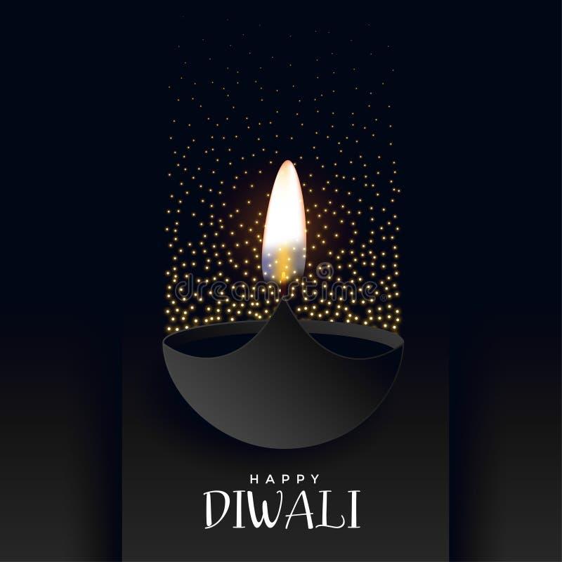 Fundo escuro do diwali feliz com sparkles ilustração stock