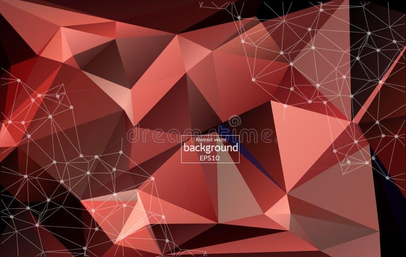 Fundo escuro do espaço poligonal abstrato com os pontos e linhas de conexão vermelhos | Projeto futurista ilustração do vetor