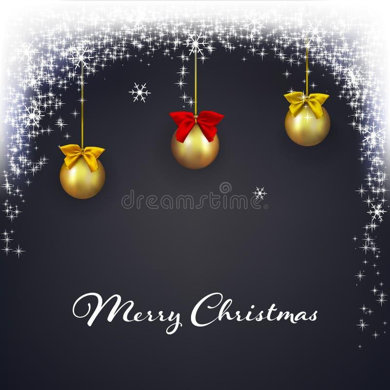 Fundo escuro do Natal com luzes mágicas Fundo de incandescência do brilho do feriado com neve de queda Bolas do Natal com curvas ilustração royalty free