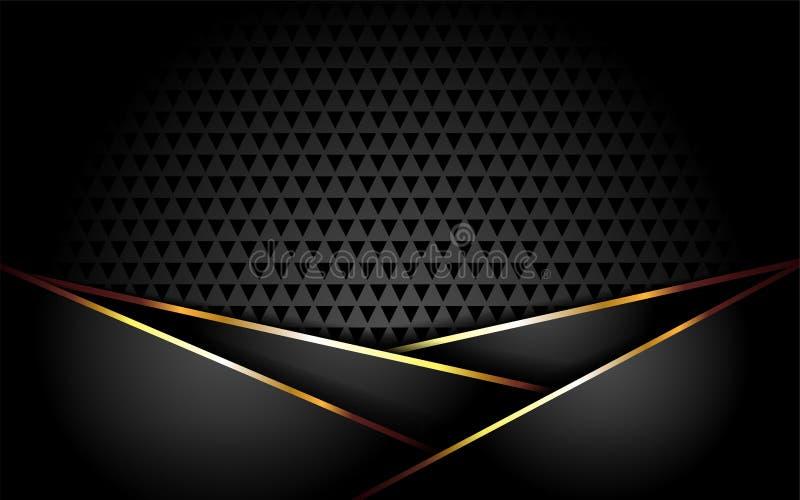 Fundo escuro luxuoso com linhas do ouro ilustração do vetor