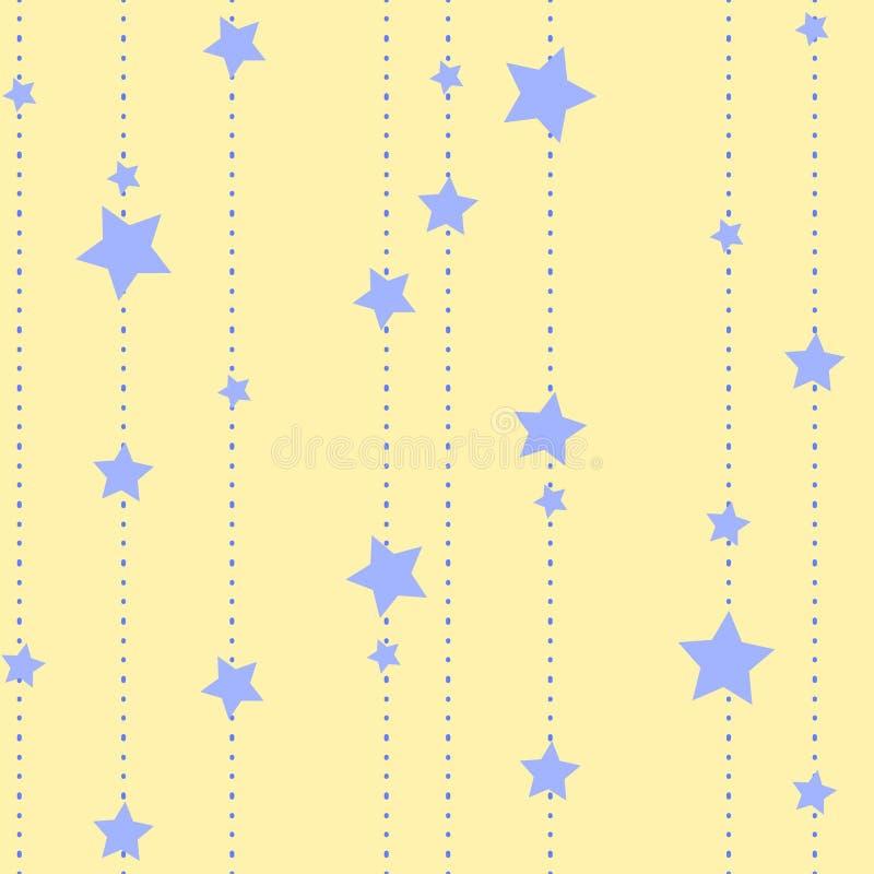 Fundo escuro sem emenda com um teste padrão de estrelas de queda abstratas ilustração royalty free