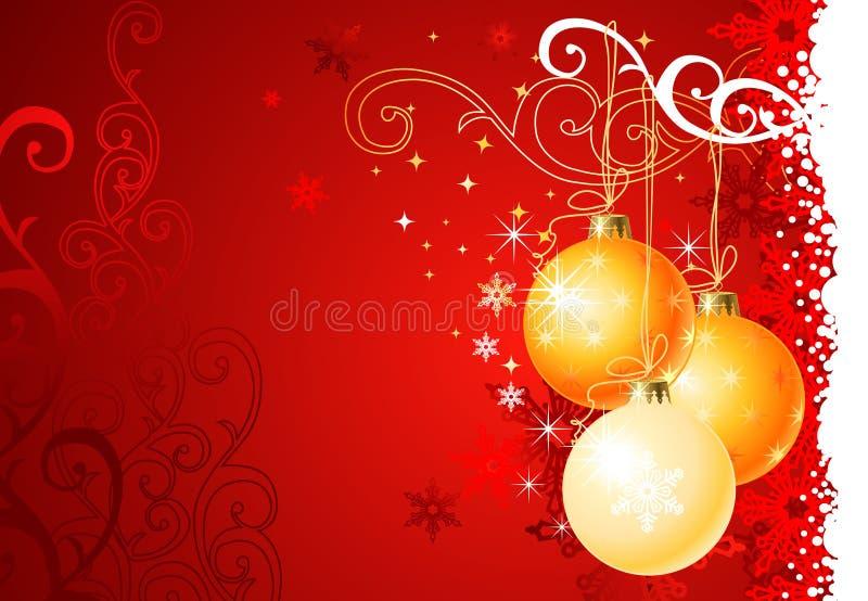 Fundo/esferas e ornamento do Natal ilustração stock