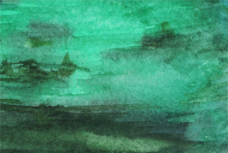 Fundo esmeralda verde da aquarela ilustração do vetor