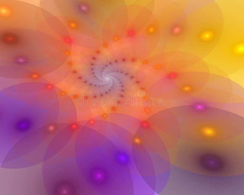 Fundo espiral abstrato com as peças de roda luminosas ilustração do vetor