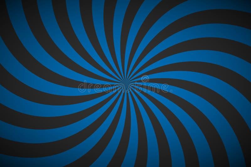 Fundo espiral azul retro decorativo, teste padrão radial de roda ilustração stock