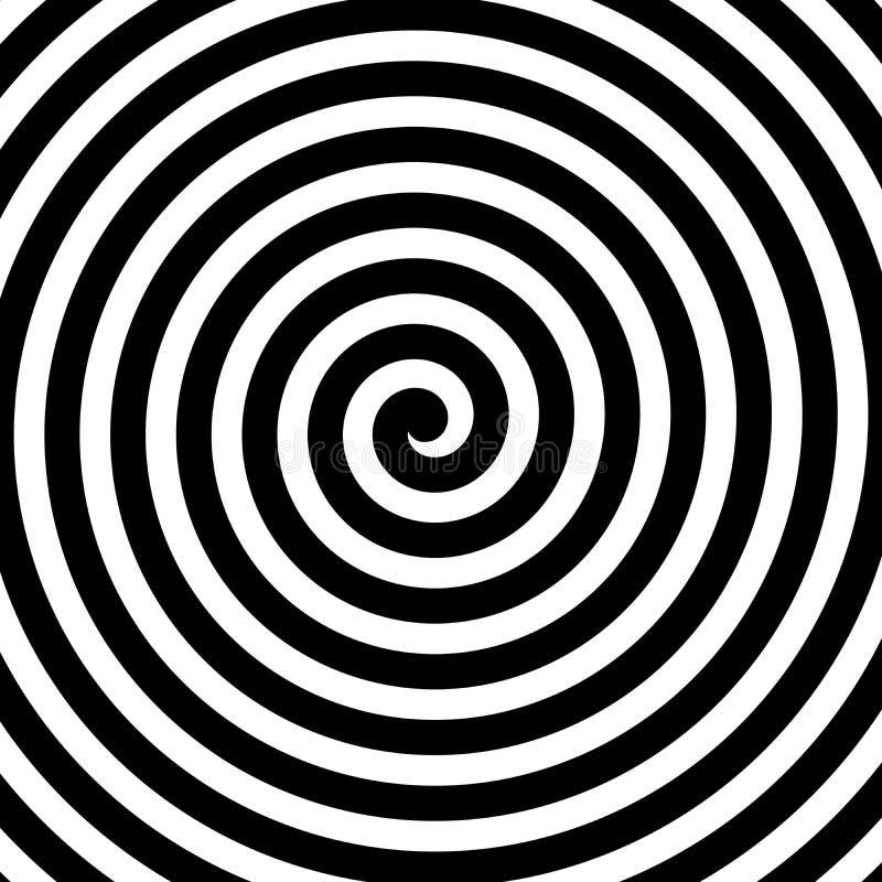 Fundo espiral do vetor em preto e branco Tema da hipnose Elemento abstrato do projeto ilustração do vetor