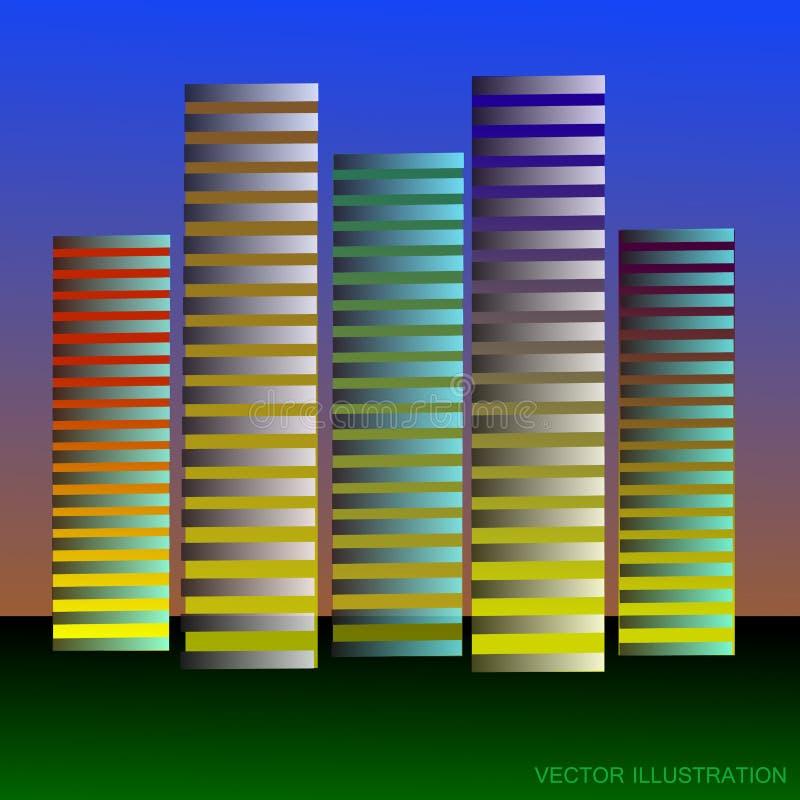 Fundo estilizado com arranha-céus ilustração do vetor