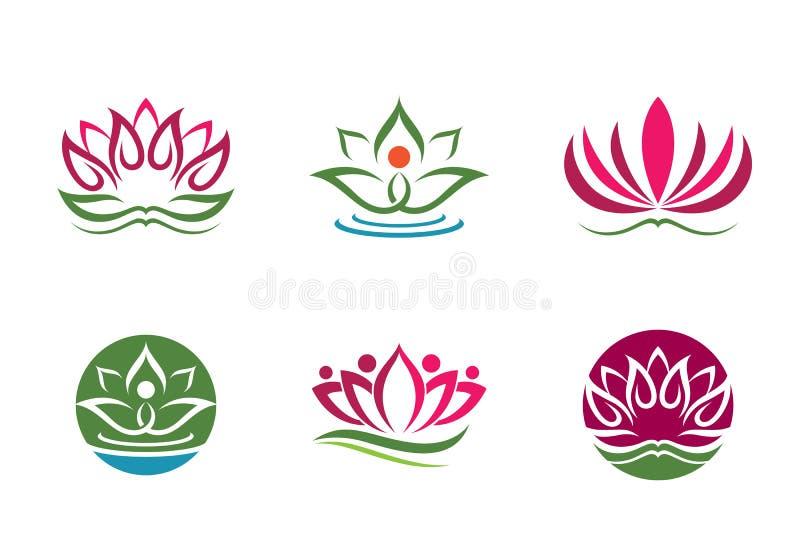 Fundo estilizado do vetor do ícone da flor de lótus ilustração royalty free