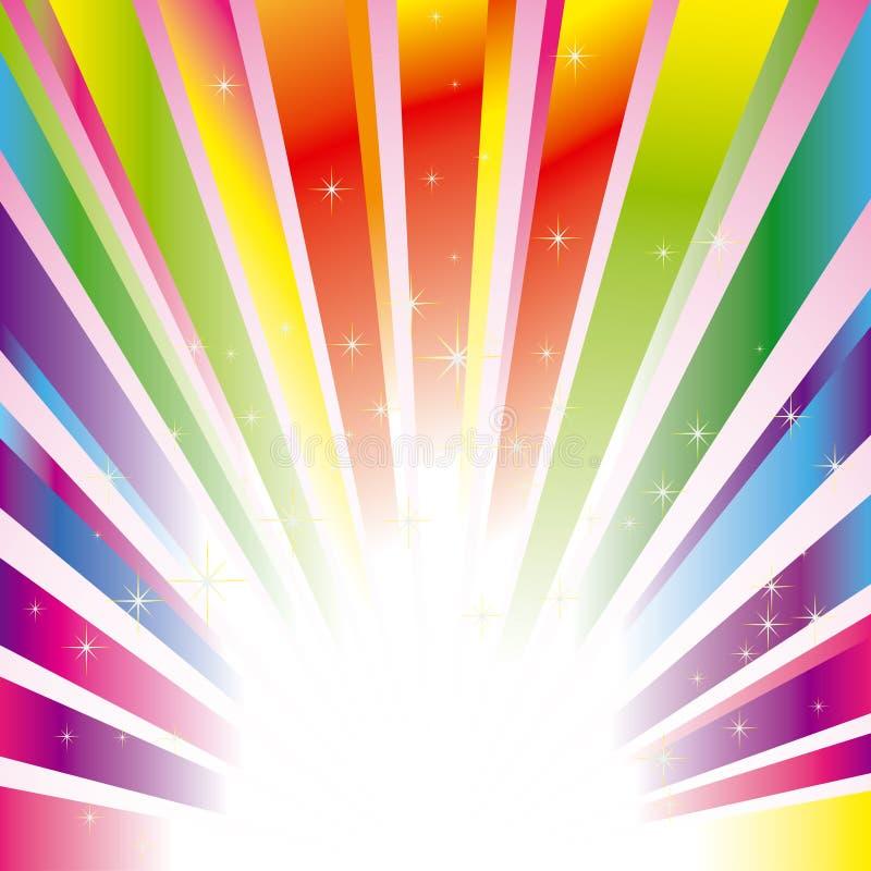 Fundo estourado sparkling colorido com estrelas ilustração royalty free