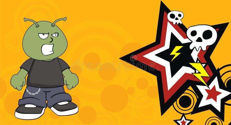 Fundo estrangeiro pequeno irritado dos desenhos animados da criança ilustração royalty free