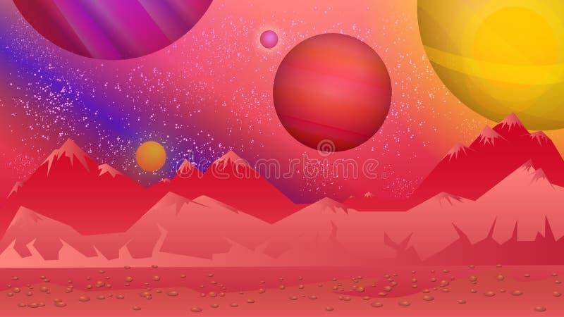 Fundo estrangeiro Vista brilhante, colorida de um outro planeta ilustração do vetor