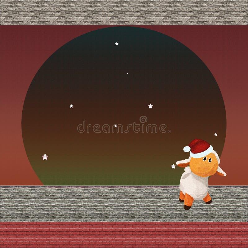 Fundo estrelado do Natal com o cordeiro bonito do luxuoso ilustração do vetor