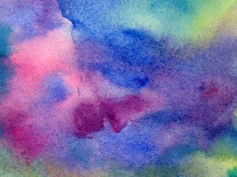 Fundo estrutural colorido brilhante abstrato da aquarela feito a mão Pintura do céu e das nuvens durante o por do sol Teste padrã ilustração royalty free
