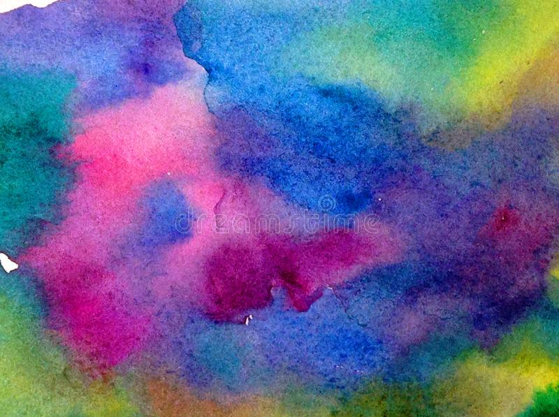 Fundo estrutural colorido brilhante abstrato da aquarela feito a mão Pintura do céu e das nuvens durante o por do sol Teste padrã imagens de stock