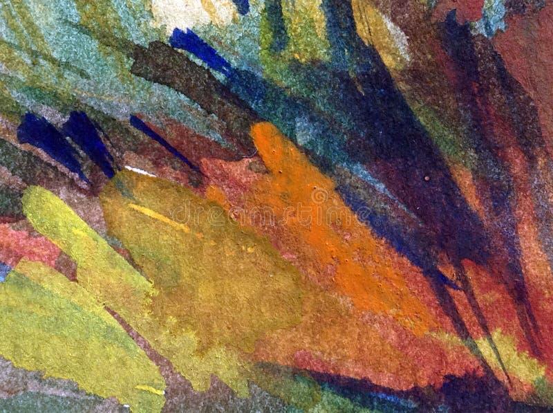 Fundo estrutural colorido brilhante abstrato da aquarela feito a mão Pintura do céu e das nuvens Paisagem Costa de mar foto de stock