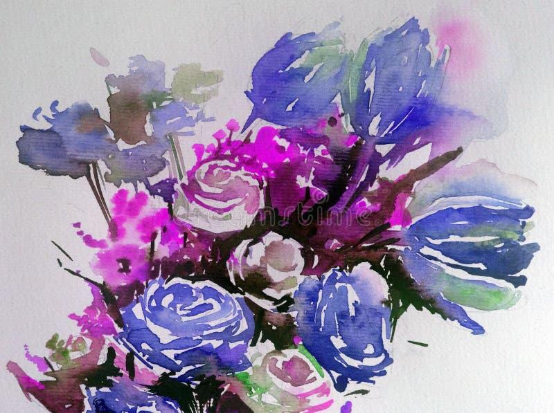 Fundo estrutural colorido brilhante abstrato da aquarela feito a mão Pintura do ramalhete de flores da mola ilustração royalty free