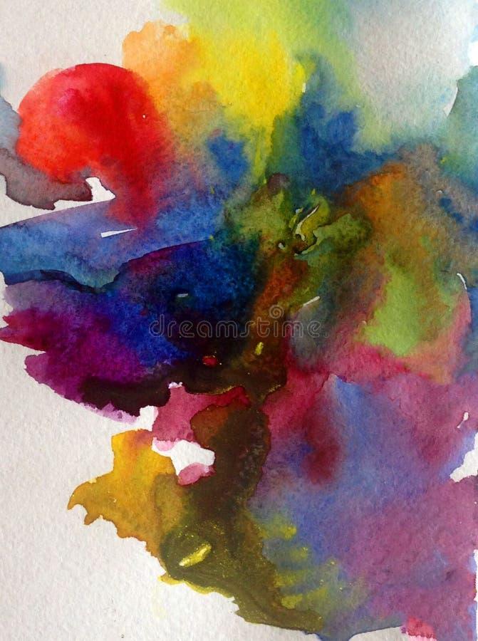 Fundo estrutural colorido brilhante abstrato da aquarela feito a mão Pintura do sol e das nuvens durante a tempestade Seascape mo ilustração do vetor