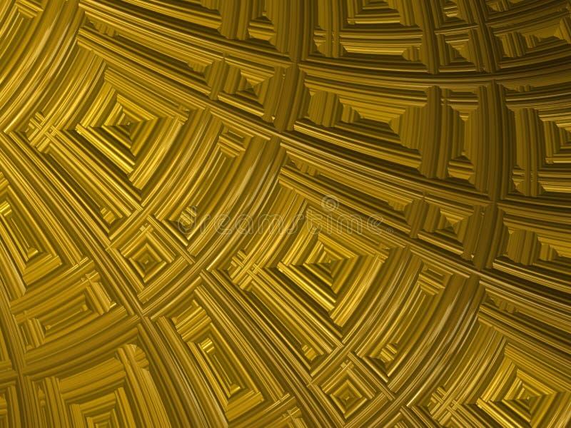 Fundo estrutural do fractal amarelo abstrato Parede com testes padrões geométricos 3d rendem para o cartaz, o projeto e o entrete ilustração royalty free