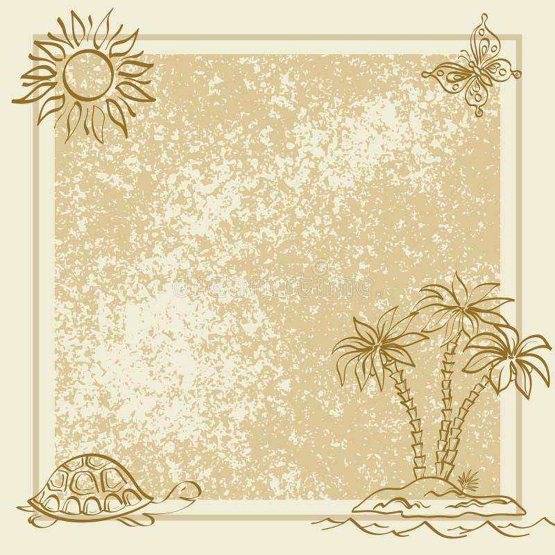 Fundo exótico. Palma, borboleta, tartaruga ilustração stock