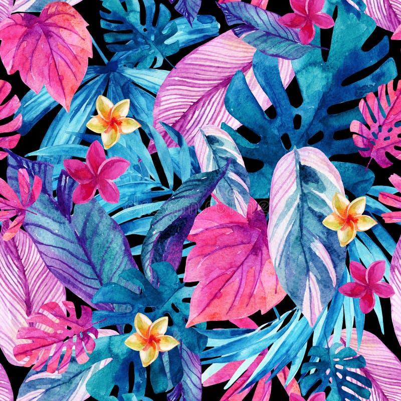 Fundo exótico das folhas e das flores da aquarela ilustração royalty free