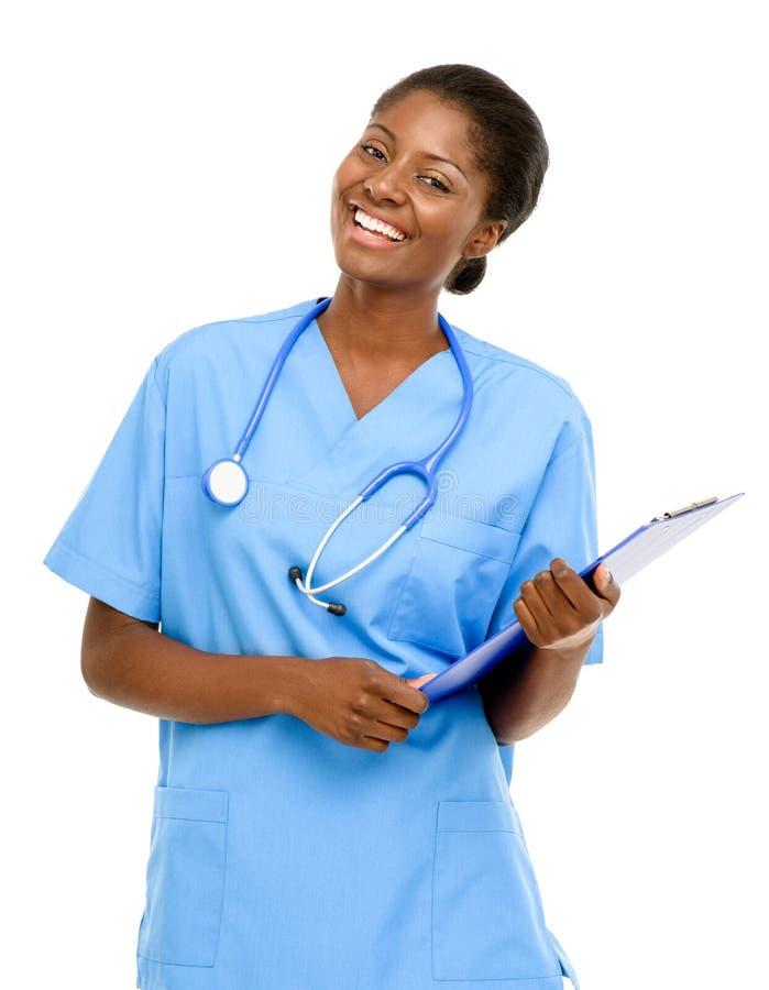 Fundo fêmea afro-americano seguro do branco do doutor do retrato foto de stock