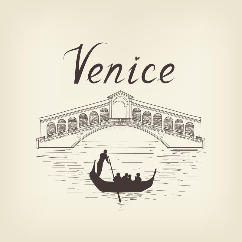 Fundo famoso de Itália do curso da opinião do lugar de Veneza Ponte da cidade ilustração royalty free