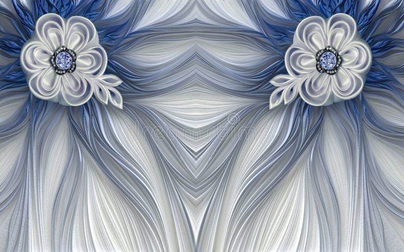 fundo fantástico da flor do fractal azul mural do sumário da decoração do papel de parede 3d imagem de stock