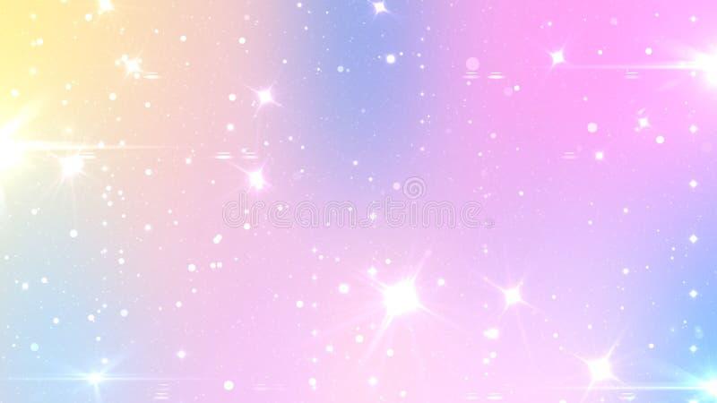 Fundo feericamente pastel do sumário com malha do arco-íris Bandeira do universo de Kawaii em cores da princesa Contexto do incli ilustração royalty free