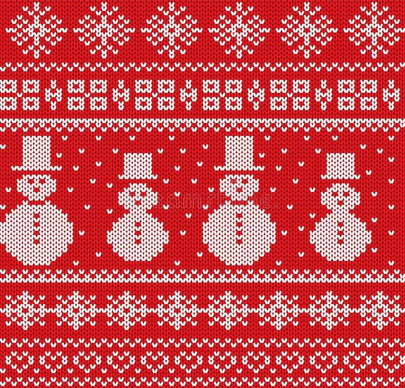 Fundo feito malha do Natal com bonecos de neve e flocos de neve Teste padrão sem emenda da malha geométrica ilustração stock