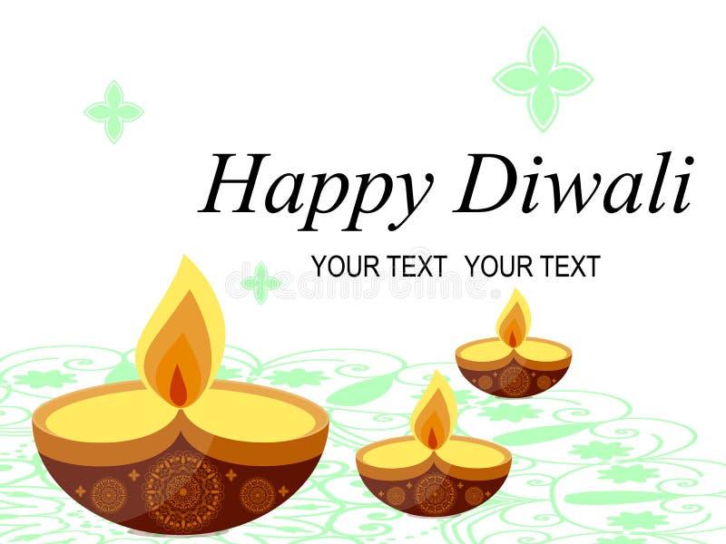 Fundo feliz bonito abstrato de Diwali estoque Vela ardente ilustração stock
