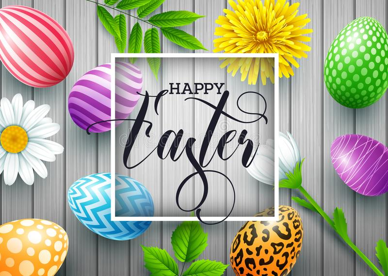 Fundo feliz da Páscoa com os ovos e as flores decorados coloridos, folhas no fundo de madeira ilustração royalty free