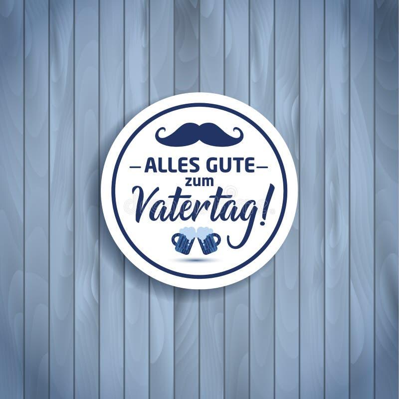 Fundo feliz da rotulação do vetor do dia do pai s Bandeira feliz do dia de pais na textura de madeira na celebração de Alemanha ilustração royalty free