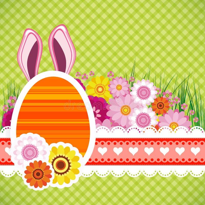 Fundo feliz de easter com ovos, orelhas banny colorido ilustração stock