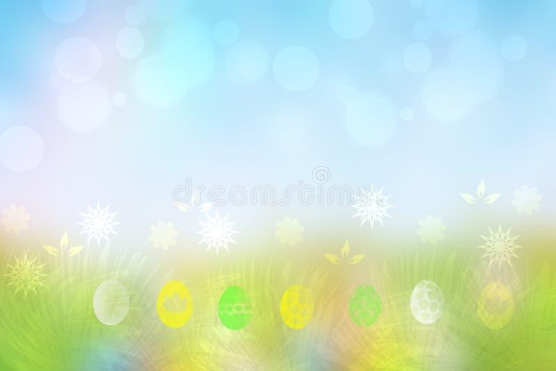 Fundo feliz de easter Prado verde abstrato com flores da mola e ovos da páscoa coloridos e um céu azul ensolarado Espaço para o s ilustração do vetor