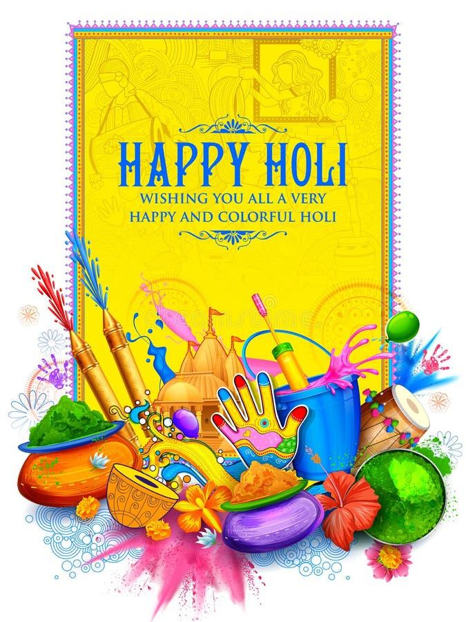 Fundo feliz de Holi para o festival de cumprimentos da celebração das cores ilustração do vetor