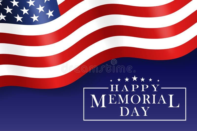 Fundo feliz de Memorial Day com a bandeira nacional dos E.U., bandeira dos Estados Unidos Molde para o convite de Memorial Day, c ilustração royalty free