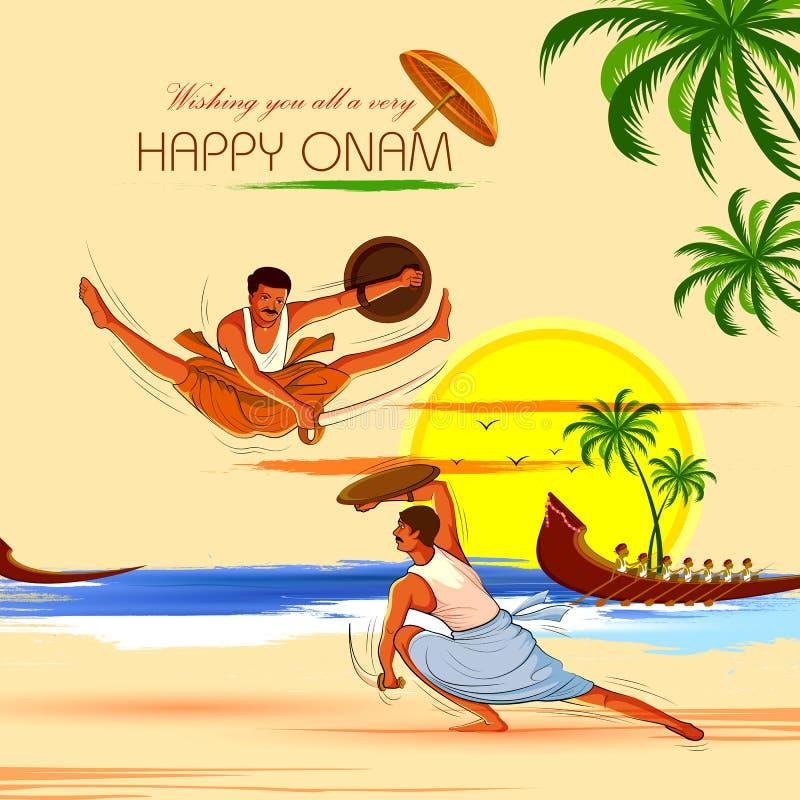 Fundo feliz de Onam para o festival da Índia sul Kerala com formulário da dança de Kalaripayattu ilustração do vetor