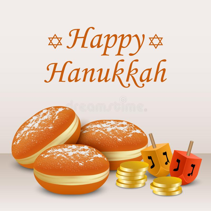 Fundo feliz do conceito do feriado de hanukkah, estilo realístico ilustração royalty free