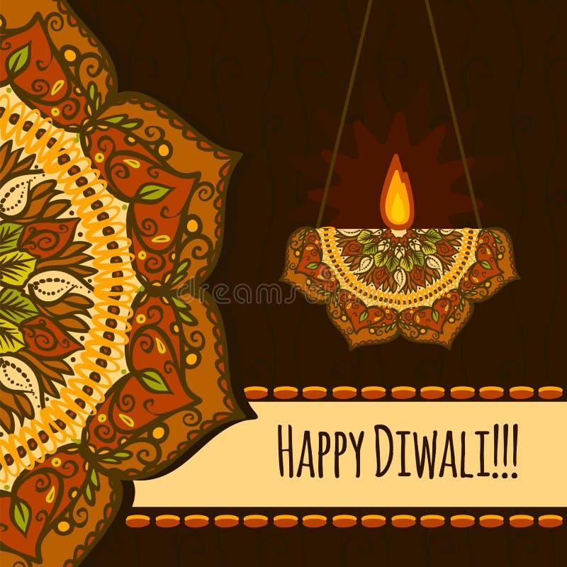 Fundo feliz do conceito do festival do diwali, estilo tirado mão ilustração royalty free