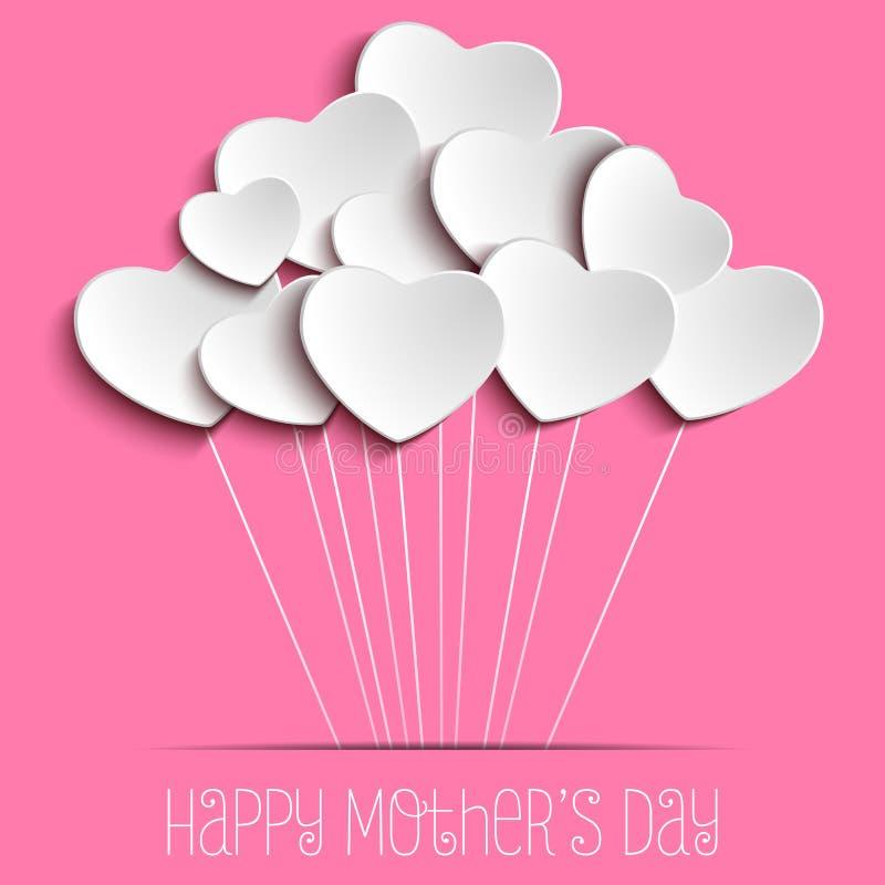 Fundo feliz do coração do dia da mãe ilustração royalty free