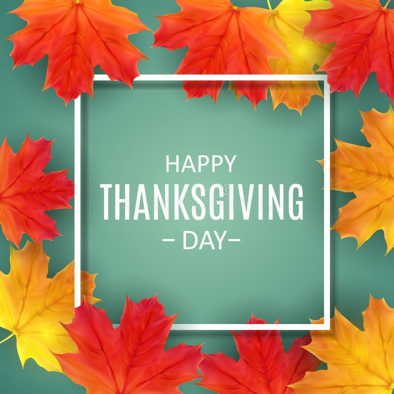 Fundo feliz do dia da ação de graças com Autumn Natural Leaves brilhante Ilustração do vetor ilustração royalty free