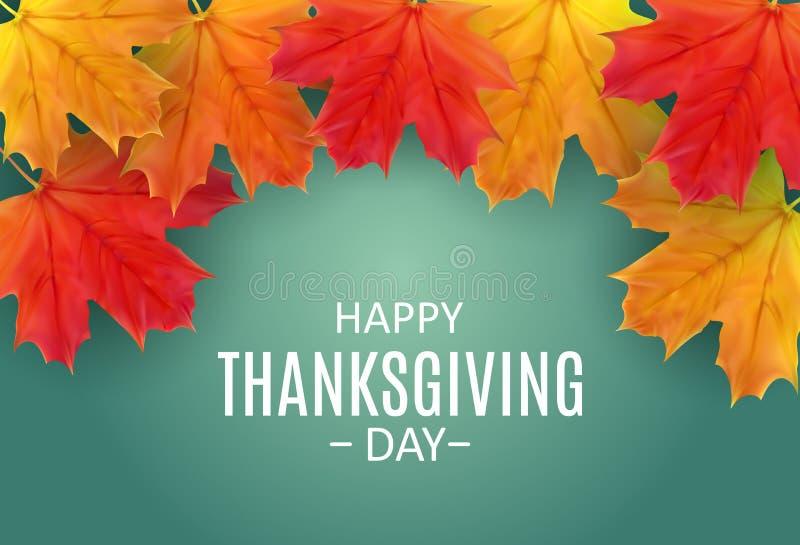 Fundo feliz do dia da ação de graças com Autumn Natural Leaves brilhante Ilustração do vetor ilustração do vetor