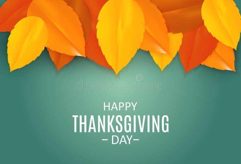 Fundo feliz do dia da ação de graças com Autumn Natural Leaves brilhante Ilustração do vetor ilustração stock