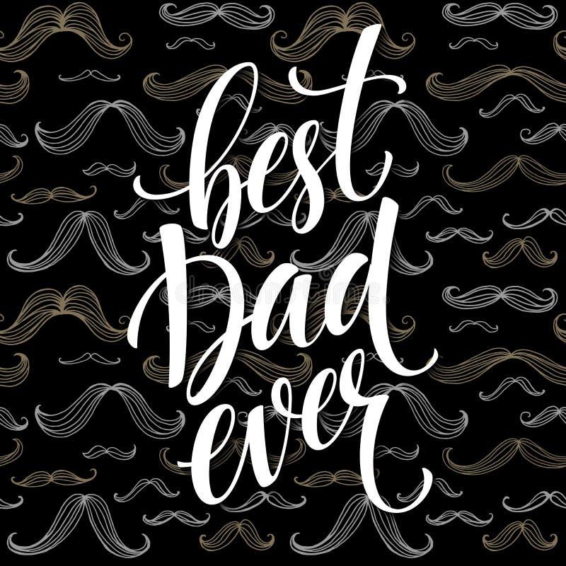 Fundo feliz do dia de pais com rotulação do cumprimento e teste padrão do bigode ilustração do vetor