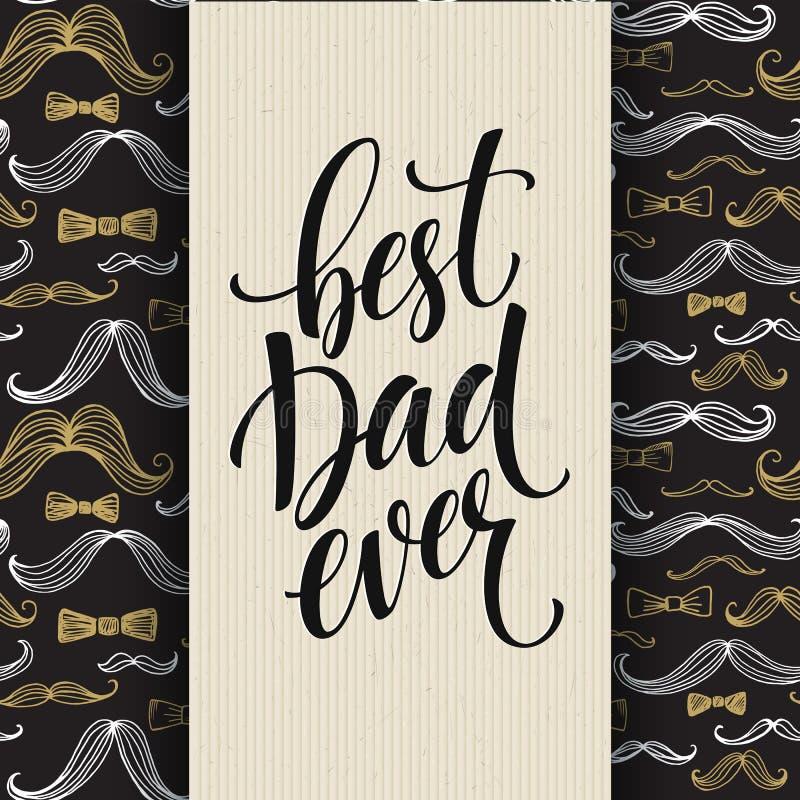 Fundo feliz do dia de pais com rotulação do cumprimento e teste padrão do bigode Ilustração do vetor ilustração do vetor