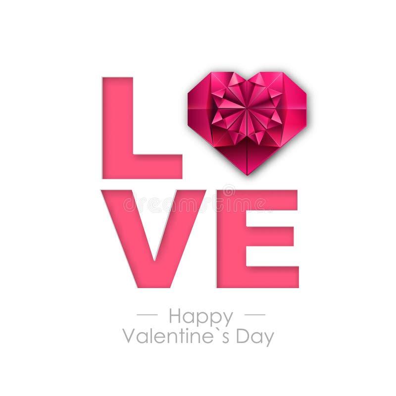 Fundo feliz do dia de Valentim com coração do amor Projeto de cartão de Typgraphy ilustração royalty free