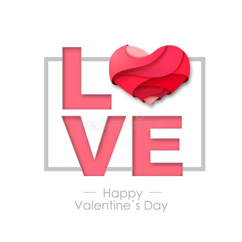 Fundo feliz do dia de Valentim com coração do amor Projeto de cartão de Typgraphy ilustração stock